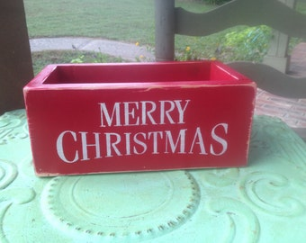 Wooden Christmas Cards Box, Home Decor Christmas Box, Red and White Merry Christmas Box