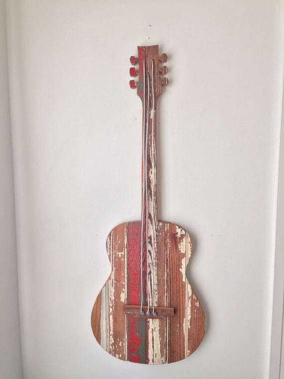 Wood Guitar Wall Decor : Rustic wood guitar wall decor