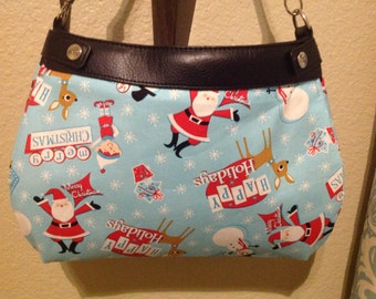 Light blue And red Santa themed SUITE skirt purse skirt cover handmade Thirty one