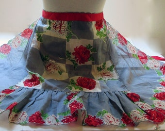 Vintage Feedsack Hankie Half Apron Rain Cloud Blue and Scarlet Floral