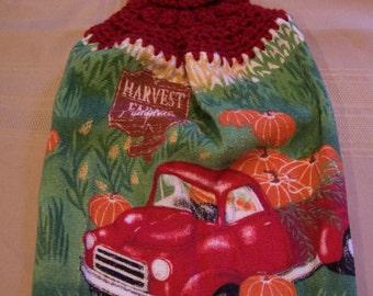 Fall Hanging Dish Towel, Hanging Kitchen Towel, Crochet Top Towel, Hanging Dish Towel, Housewarming Gift, Home Decor