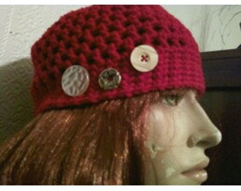 Red cloche with buttons