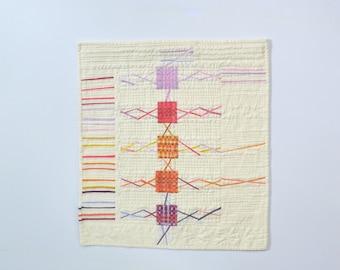 Woven Wall Hanging, Modern Art Quilt, Modern Wall Hanging, Fiber Art, Textile Art, Quiled Wall Quilt