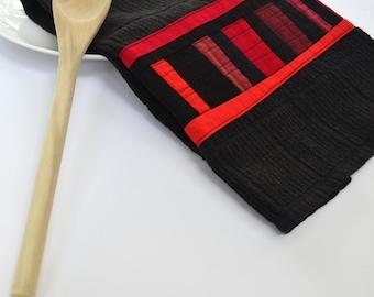 Black Kitchen Towel, Geometric Kitchen Towel, Modern Dish Towel, Red & Black, Hand Towel