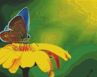 Butterfly on Yellow Flower Cross Stitch Pattern Animal Series Design Instant Download PdF