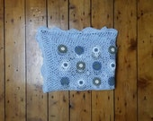 Crochet throw blanket vintage blankets baby blue lace cover bedroom living room home decor country cottage hand made Dolly Topsy Etsy UK