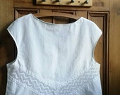 Womens clothing tops tees white blouses lace blouse floral size 12 14 ladies boho chic womens tops vintage linen Dolly Topsy Etsy UK
