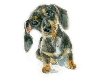 Watercolor Dacschund Puppy, Dacschund Print, Puppy Print, Dog Art , Dog Portrait