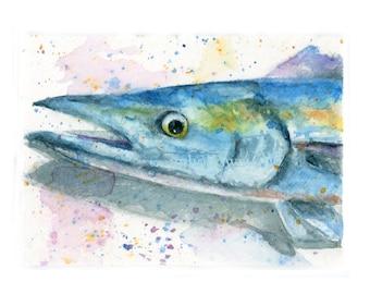 Watercolor Wahoo, Wahoo Print, Fish Print