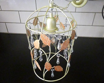 Unusual Lantern Toleware Pendant Cage Light Ceiling Suspension French Shabby Chic With Crystal Drops Red Leaves