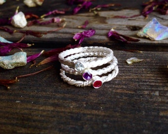 Handcrafted Stackable Genuine Gemstone Mothers Ring