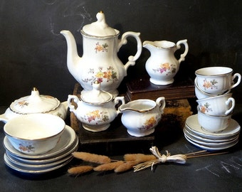 Vintage Child's french Porcelain 18 pc. Tea/ Dinner Set .Miniature children's dinner set // tea set . dinette, accessory  doll,