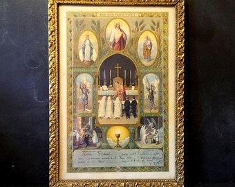 1939 Antique French reliquary .First Communion Souvenir .Religious art . Religious Frame