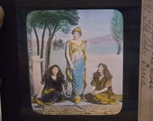 """Vintage Religious Color Glass Slide,""""Sign Of The Cross"""",The Lady Dacia"""
