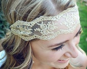 Wide Gold Lace Sheer Headband
