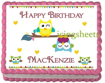 Owl birthday cake topper cake icing transfer edible image frosting icing sheet sugar baby shower party