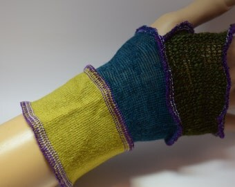 Upcycled Wrist-warmers, Up-cycled, OOAK, Festival Gear. UK Seller, Ships Worldwide.