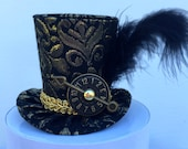 Black and Gold Brocade Mad Hatter Mini Top Hat for Dress Up, Birthday, Tea Party or Photo Prop