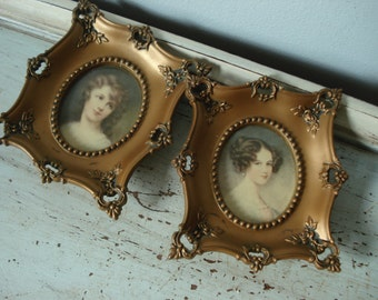 Vintage Miniature Portrait/Cameo Creation Portrait/gold ornate frame/small ornate picture frame
