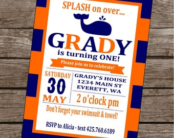 PREPPY STRIPES WHALE Happy Birthday Party or Baby Shower Invitations Set of 12 {1 Dozen} - Party Packs Available