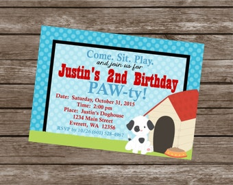 PUPPY PAW-TY Happy Birthday Party or Baby Shower Invitations Set of 12 {1 Dozen} - Party Packs Available