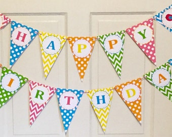 PREPPY BIRDIE Bright Colors Happy Birthday or Baby Shower Party Banner - Party Packs Available