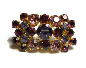 Amethyst rhinestone brooch, 1950s amethyst and lilac colored prong set rhinestone cluster bar pin, brooch, gold plated