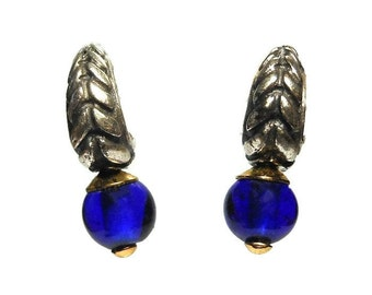 Anne Klein II earrings, post earrings antiqued silver tone half hoop with blue glass bead and gold findings, on original card