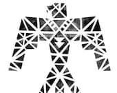 FREE shipping! Geometric Thunder Bird / Tribal Ink /  Indian / Native American Art #tribal #geometric #nativeart #bird #etsy #ink