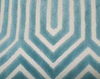 Teal raised velvet art deco upholstery fabric