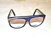 SALE was 75.00 now 49.00 French Designer Stendhal Vintage Eyeglasses Rhinestones Pearlized Blue