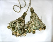 Tassel Pom Pom Pair Vintage in Greens and Beige Slightly Shabby for Drapery or Whatnot