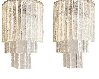 murano icy glass mid century wall sconces