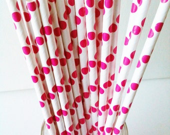 Set of 20 Paper Straws, polka dots hot pink