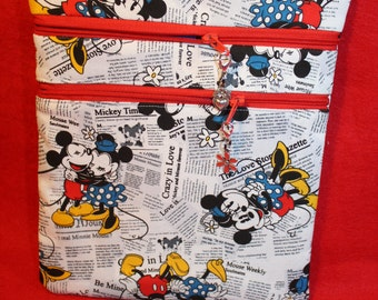 Handcrafted Minnie Mickey Newpaper Themed Crossbody Bag with Adj Strap