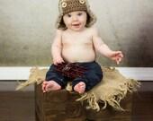 Aviator Pilot Hat, Baby Boy Hat, Baby Hat, Toddler Hat, Newborn Hat, Flower Hat, Crochet Baby Hat