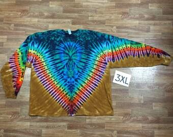 Tie Dye T-Shirt ~ Rainbow /Palomino Gold V with Aqua Spider i2965 Long Sleeve Triple Extra Large