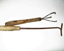 Vintage Garden Tools Primitive Rustic Hoe Cultivator Wooden Handle Metal Tools