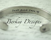"Aunt Gift / Sister Gift / Aunt Gift ""Best Aunt Ever"" Secret Message Hand Stamped Bracelet- Personalized Bracelet"