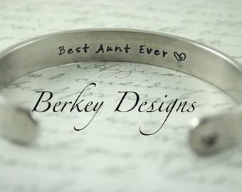 """Aunt Gift / Sister Gift / Aunt Gift """"Best Aunt Ever"""" Secret Message Hand Stamped Bracelet- Personalized Bracelet"""