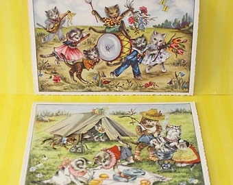 Vintage Postcards - KITTY BAND & Cat Family Camping - UNUSED Split Back - Germany
