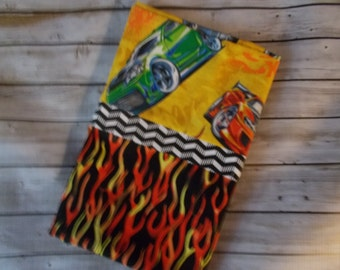Standard Pillow Case - Hot Wheels Pillow Case - Cartoon Pillow Case-Standard Size  Cars and Flames Pillow Case - Kids Standard Pillow Case