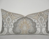 Kravet - Decorative Pillow Cover ~ Grey ~ Tan ~ Accent Pillow ~ Paisley IKAT ~ Lumbar Cover ~ Latika In Limestone