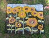 Field Flowers Hooked Rug