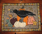 Crow in the pumpkin patch hooked rug