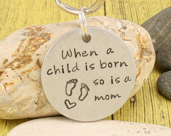 FIRST MOTHERS DAY Gift | New Mom Gift | Baby Shower Gift  - When a child is born...  - Custom hand stamped family tags by iiwii emporium