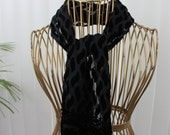 Vintage Neck Scarf Black Burnout Velvet