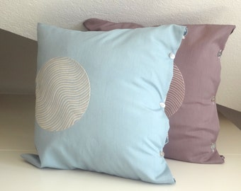 Geometric decorative pillows, Circle Embroidery Throw Pillow Cover, 16x16 inches, Minimal Decorative Throw Pillow,