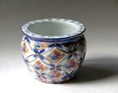 Asian Floral Porcelain Jardiniere Planter Cobalt Blue Gold Moriage Cachepot Ribbon Lattice Detail