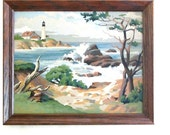 Craft Master Paint By Number Lighthouse Point Large Framed 50s Nautical Seashore  PBN